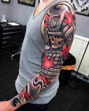 Samurai Skeleton Tattoo Sleeve
