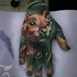 Sphynx Cat Tattoo on Hand