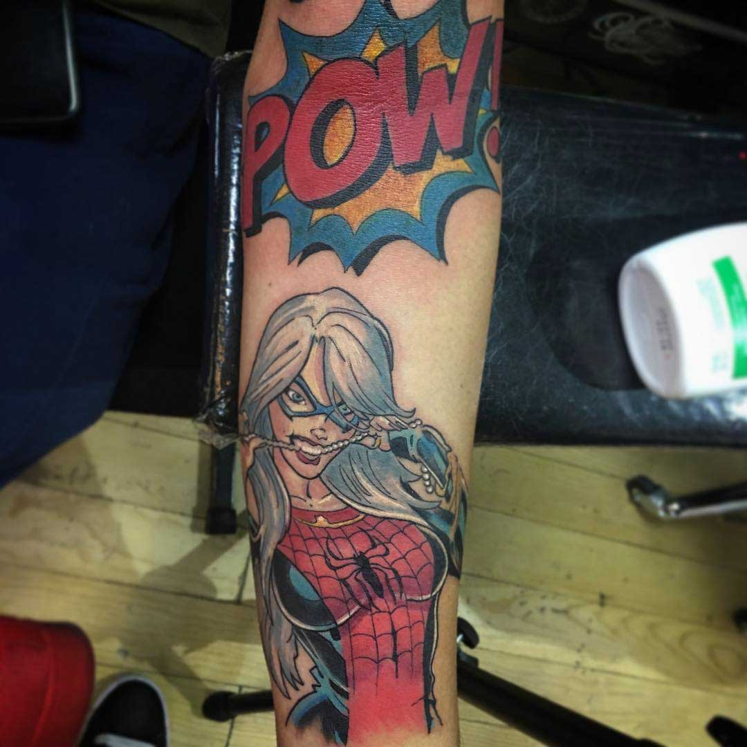 comic book spider wooman tattoo