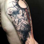 Trash Polka Cat Tattoo on Shoulder