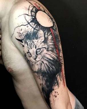 Trash Polka Cat Tattoo on Shoulder
