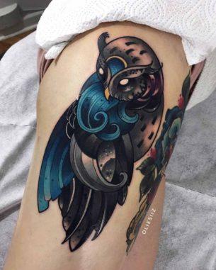 Wave Owl Tattoo