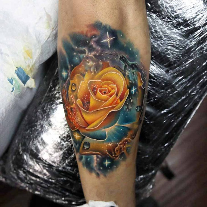 Yellow Space Rose Tattoo | Best Tattoo Ideas Gallery