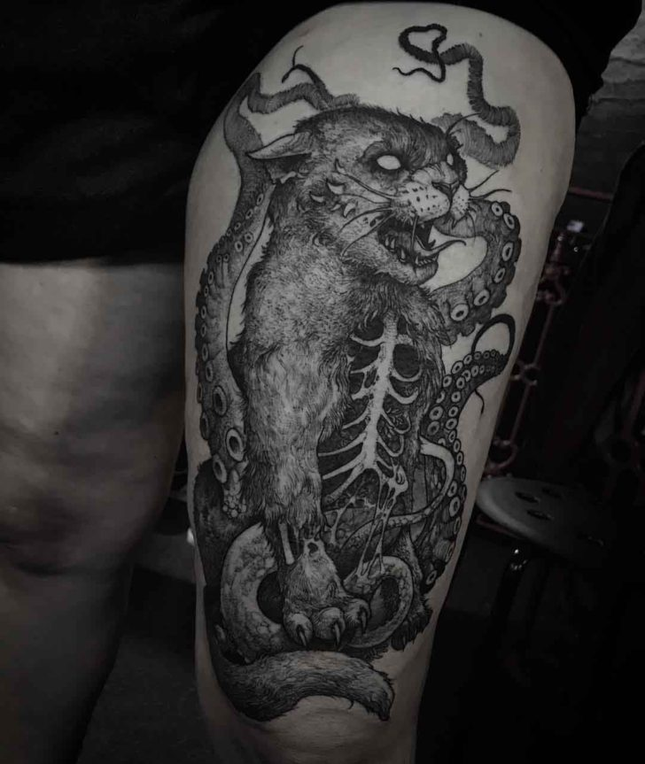 thigh tattoo cat zombie