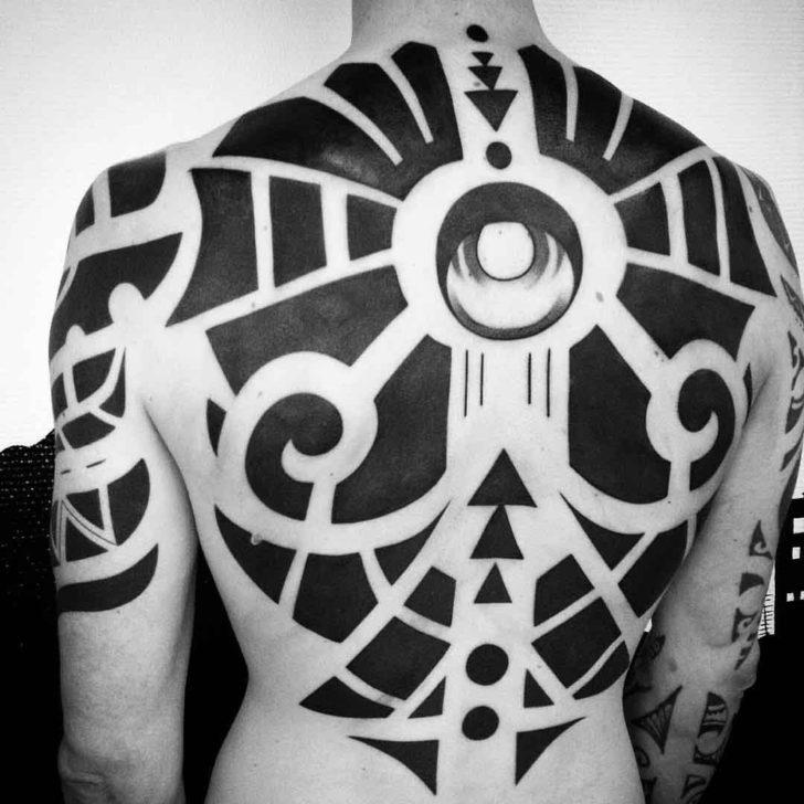 back tattoo blackwork geometry