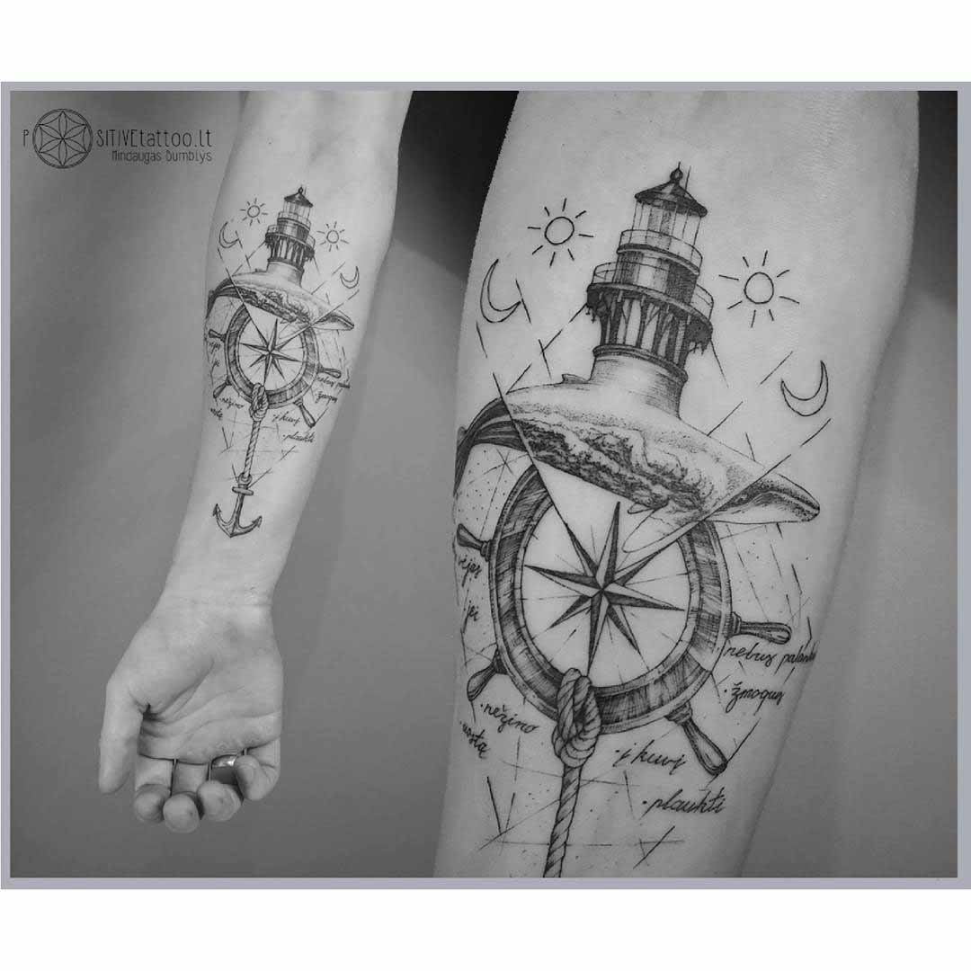 nautical tattoo on arm light house, steering wheel, rope anchor