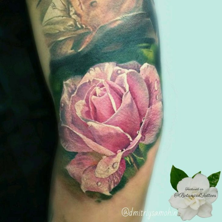 Arm Tattoo Dew Drops Rose