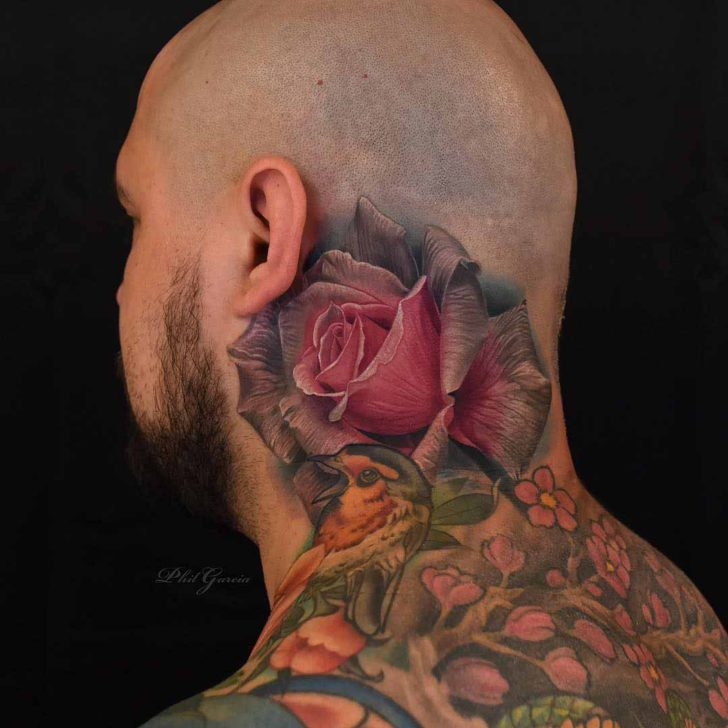 Back Neck Pink Rose Tattoo