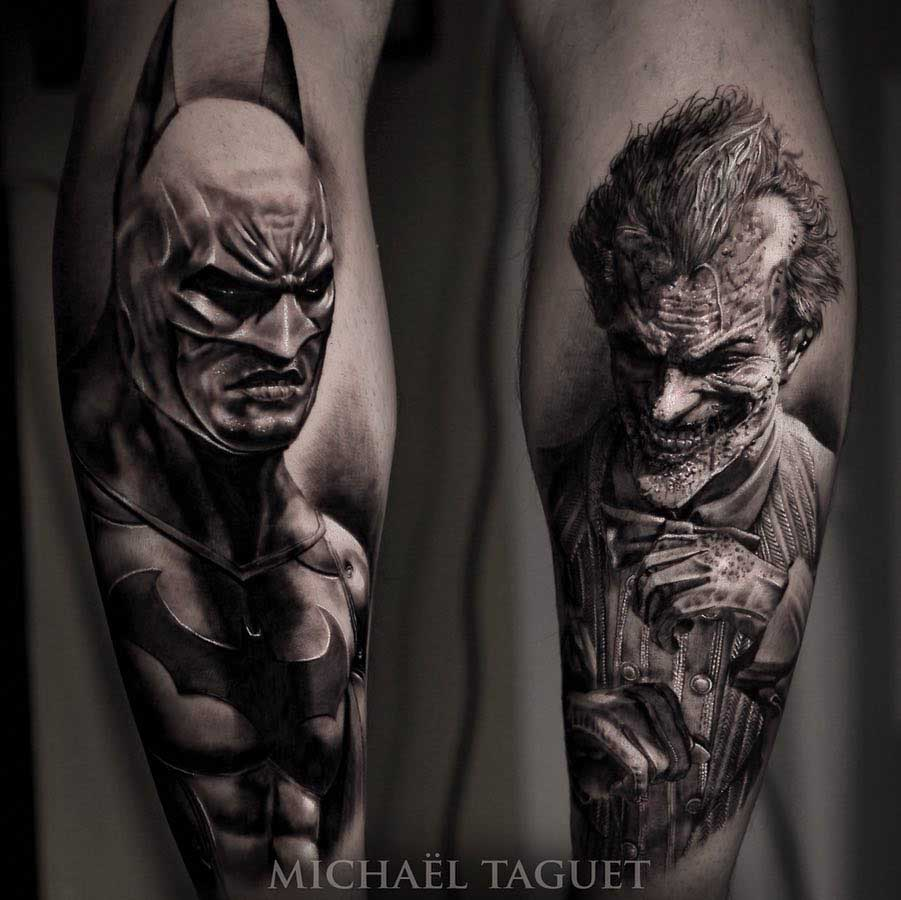 batman and joker tattoos graphic