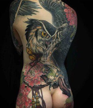 Big Owl Tattoo on Back
