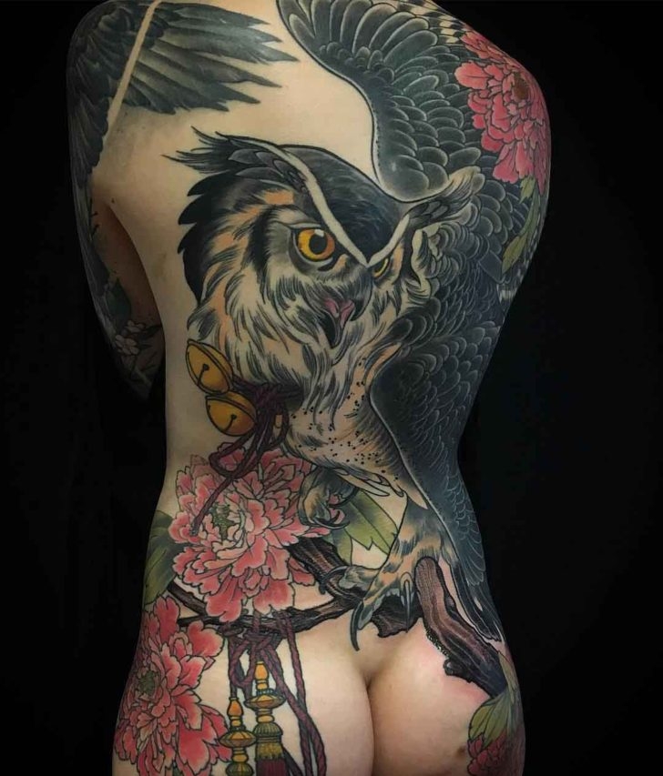owl tattoo on back