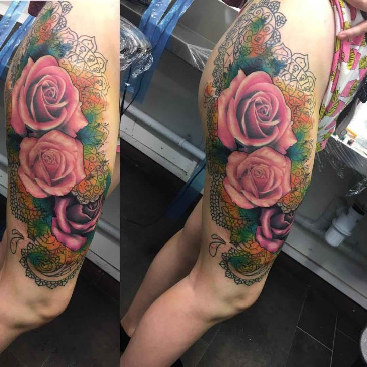 Big Pink Roses Tattoo on Hip
