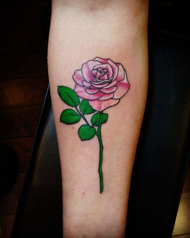 Black Lines Pink Rose Tattoo