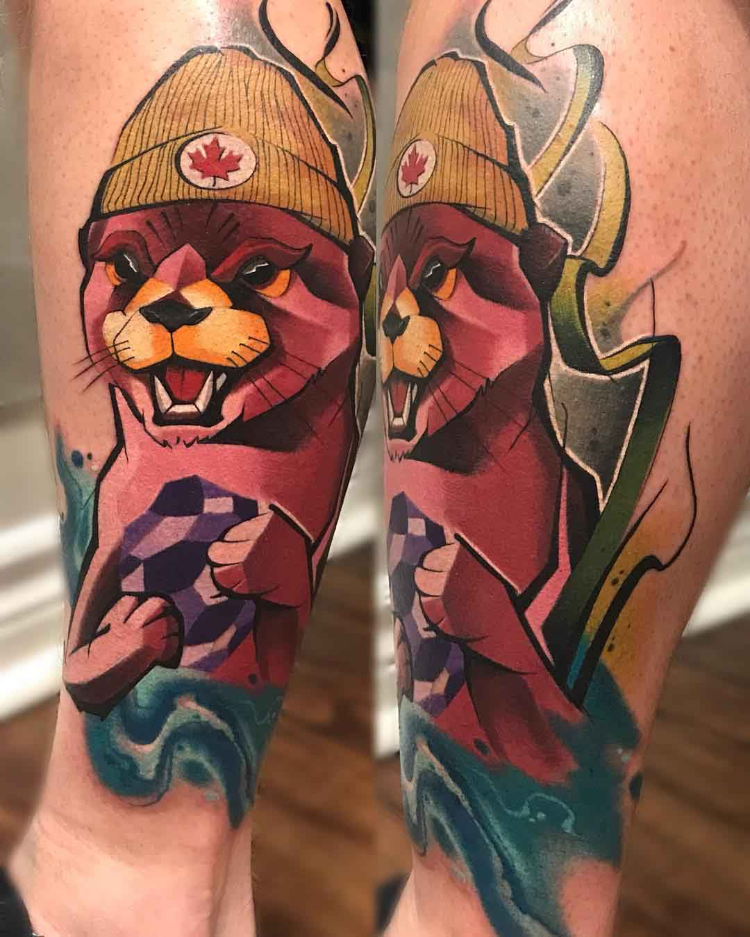 arm tattoo otter in hat