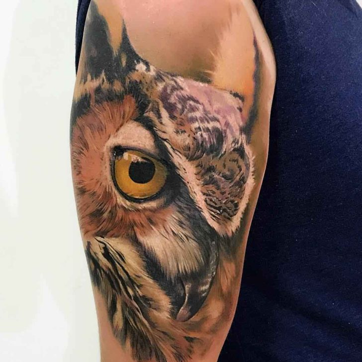 owl tattoo realistic colors