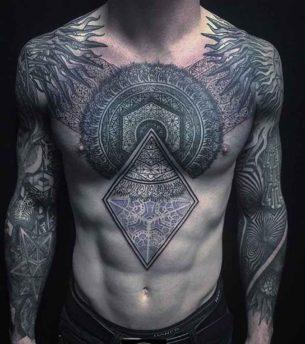 Complex Ornament Tattoo on Chest