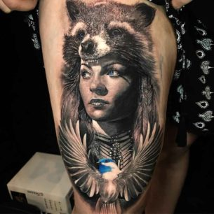 Coon Girl Portrait Tattoo