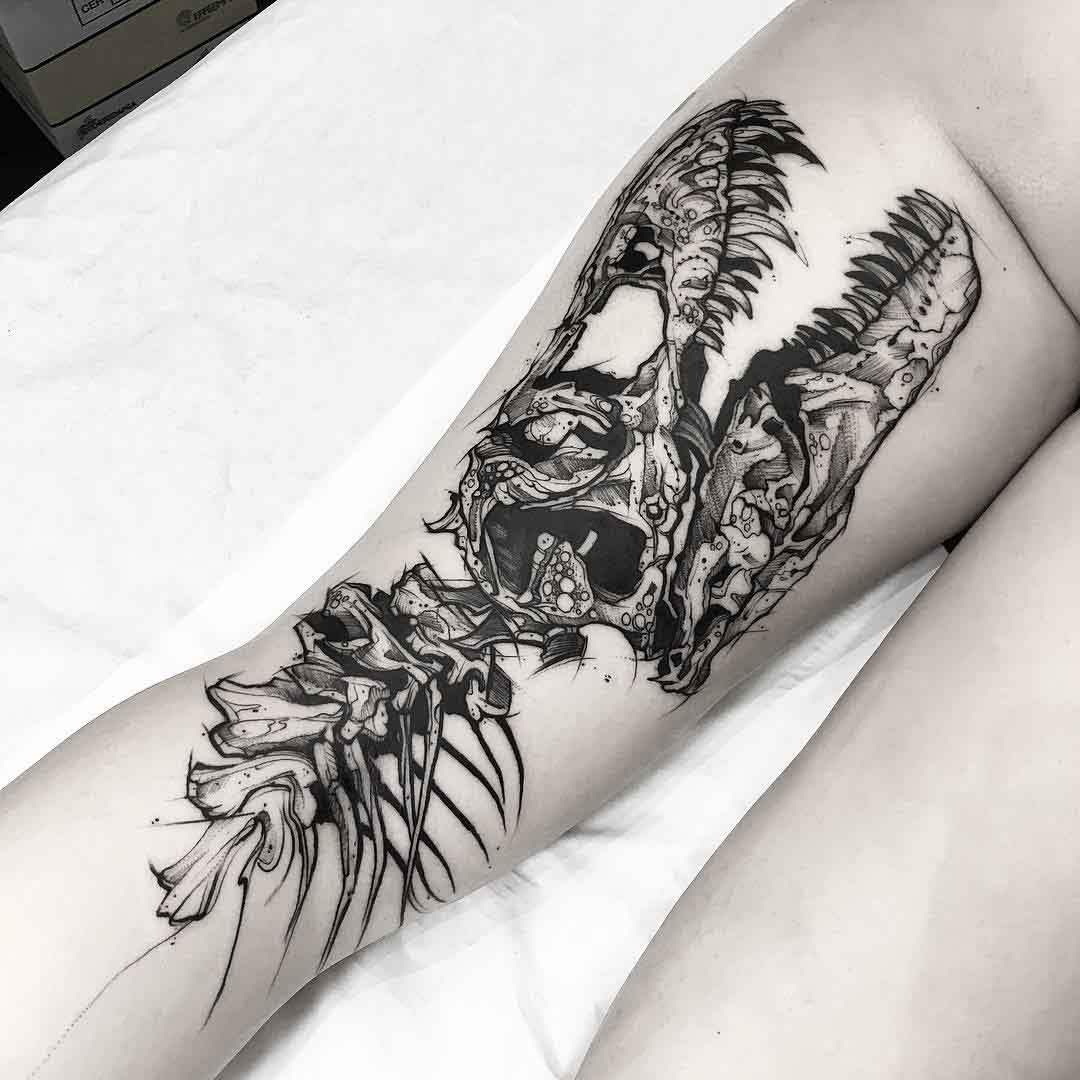 back thigh tattoo dinosaur skeleton
