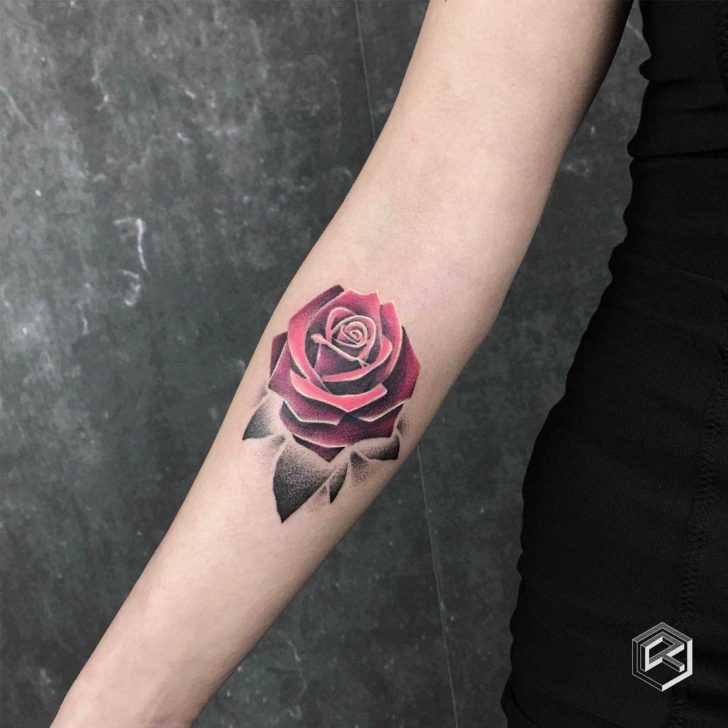 Dotwork Pink Rose Tattoo