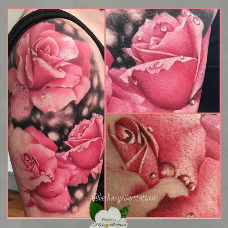 Drops of Dew Pink Rose Tattoo
