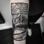 Etching Landscape Tattoo