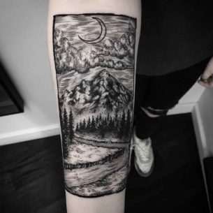 Etching Landscape Tattoo