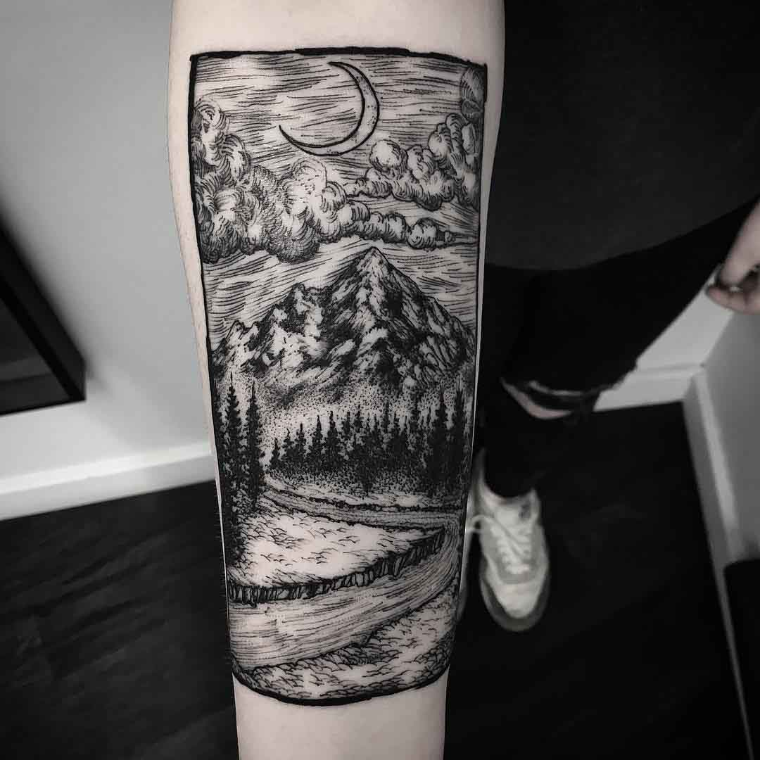 landscape tattoo etching