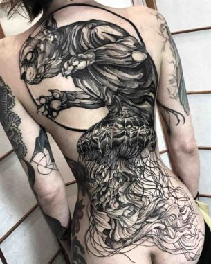 Female Full Back Tattoos