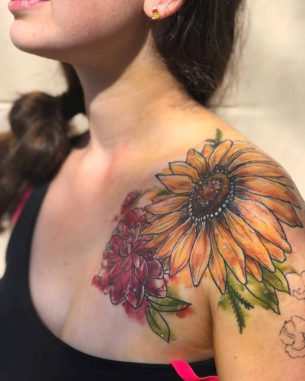Flowers Tattoo on Shoulder Front