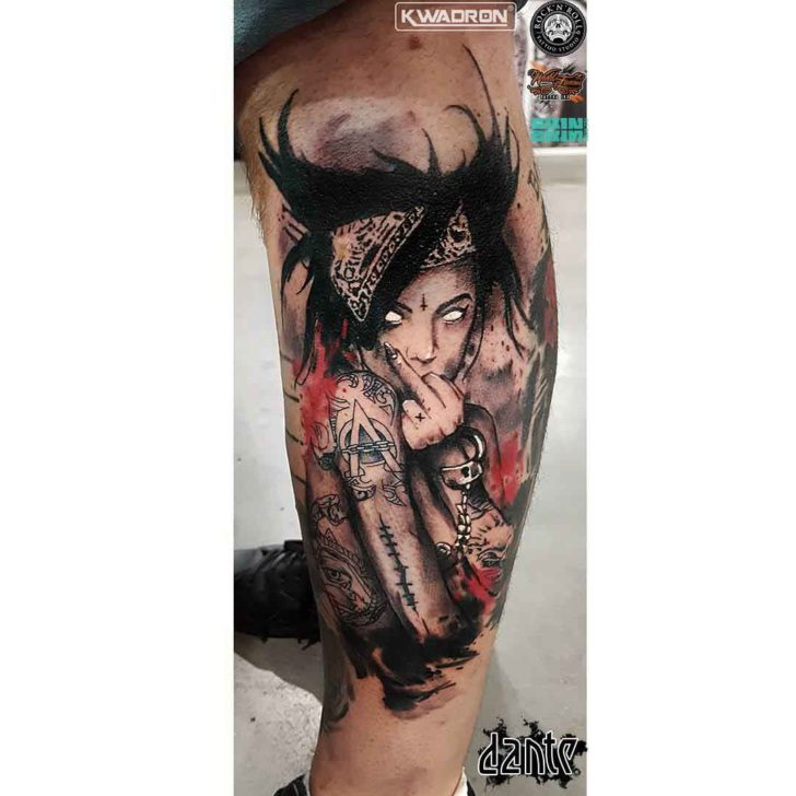 calf side tattoo freak girl