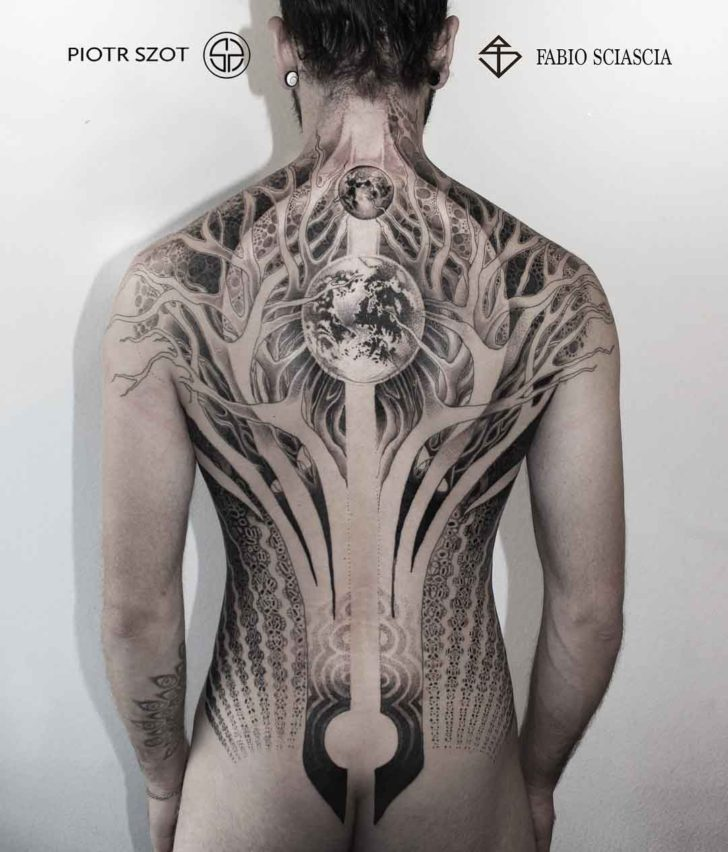 back tattoo of a world tree