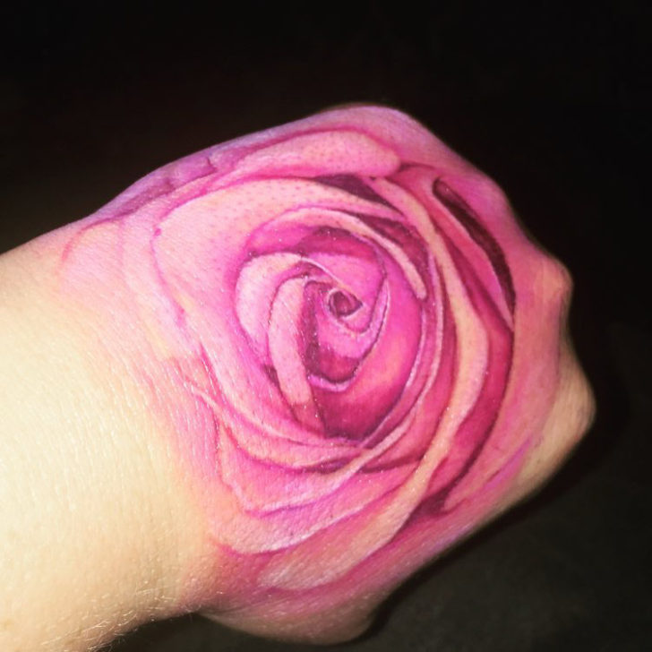 Hand Pink Rose Tattoo