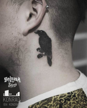 Little Crow Tattoo Behind Ear
