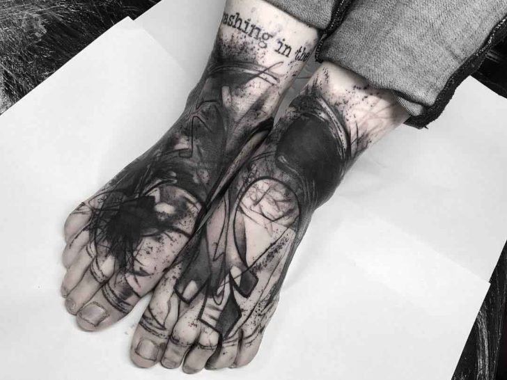 foot tattoos black and grey