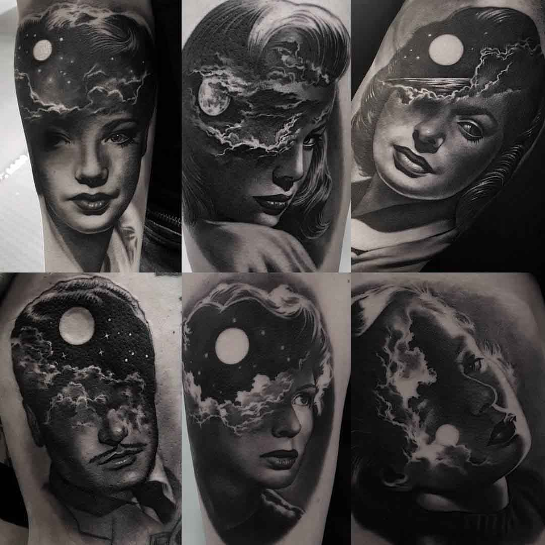 black and grey portraits tattoos