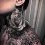 Neck Grey Rose Tattoo