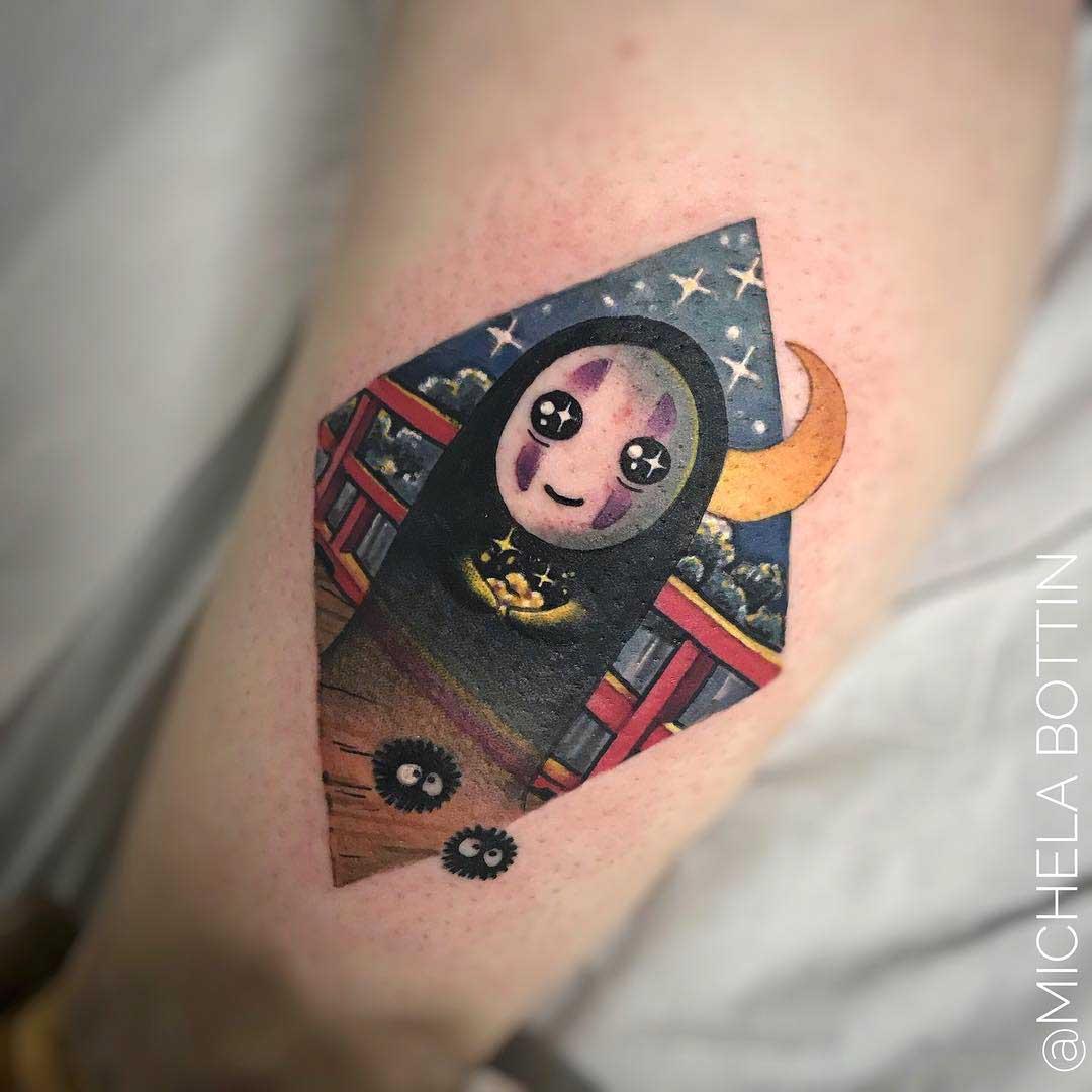 cute no-dace tattoo on thigh