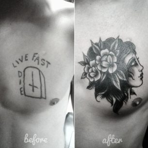 Old School Cover Up Tattoo on Chest