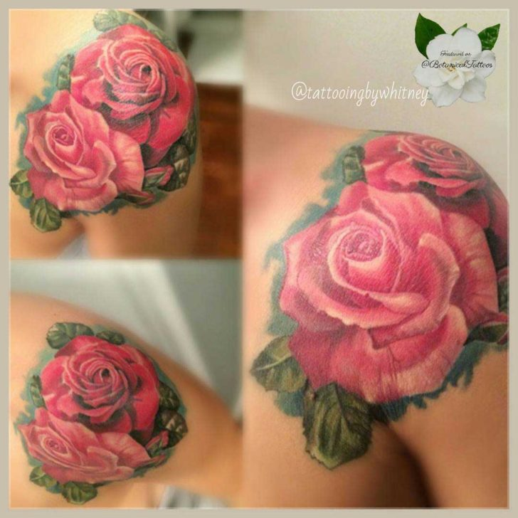 Pair of Pink Roses Tattoo on Shoulder