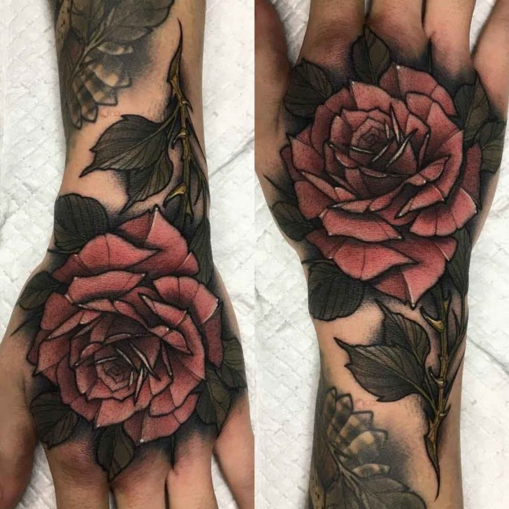 Pale Pink Rose Tattoo on Hand