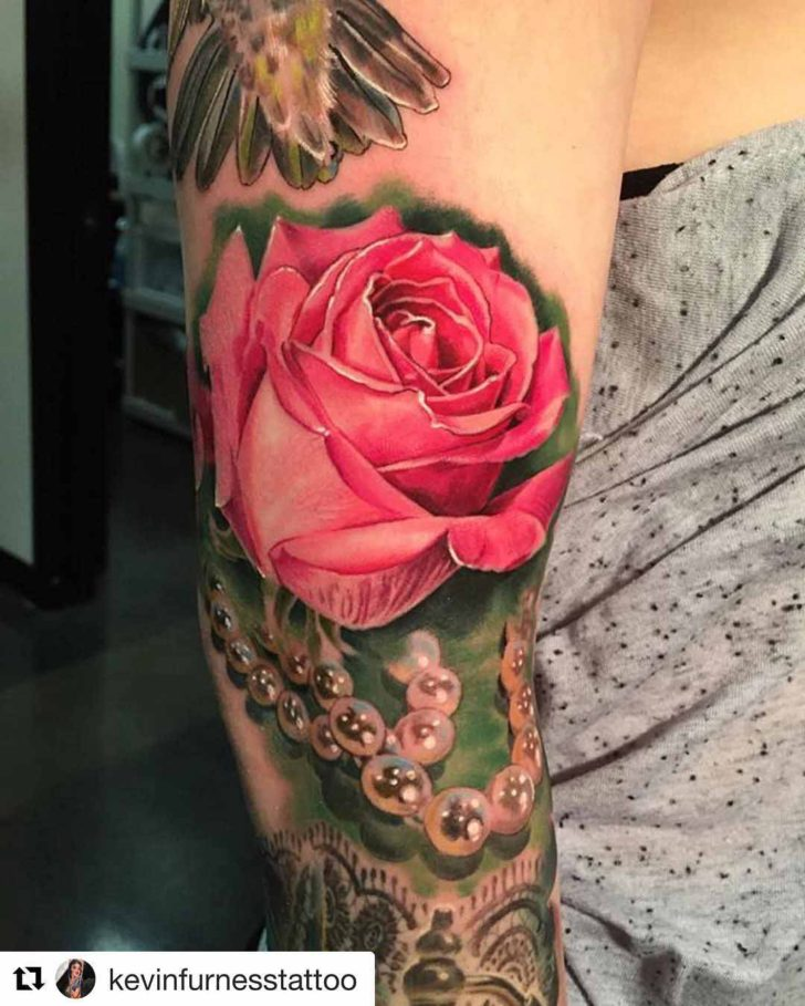 Pearls Pink Rose Tattoo
