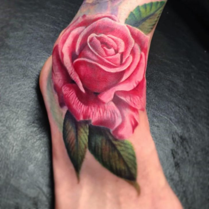 Pink Rose Tattoo on Ankle