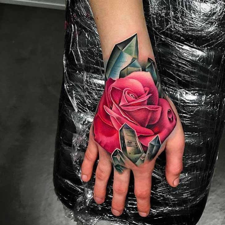 Pink Rose and Crystals Tattoo