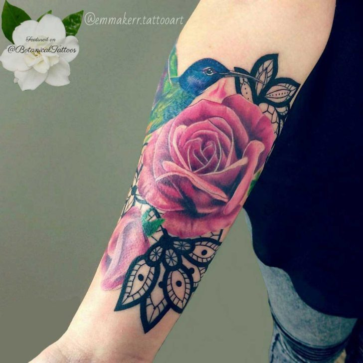Pink Rose and Hummingbird Tattoo on Arm