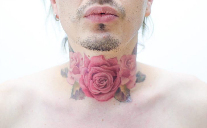 Pink Roses Tattoo on Neck