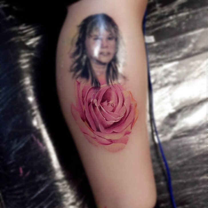 Portrait Pink Rose Tattoo