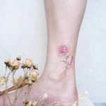 Beautiful Rose Tattoo on Ankle