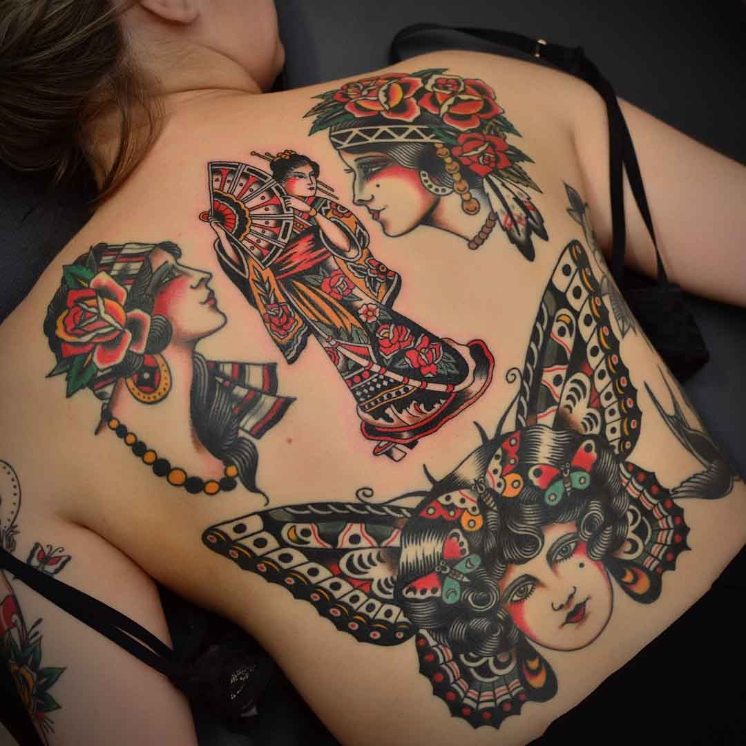 back tattoos traditional