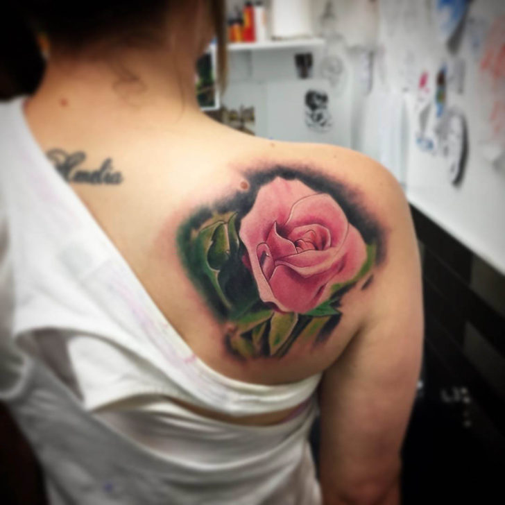 Shoulder Blade Pink Rose Tattoo