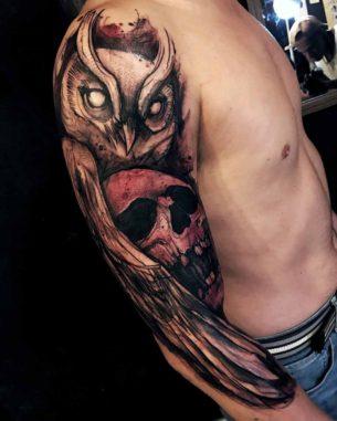 Shoulder Sleeve Owl Tattoo